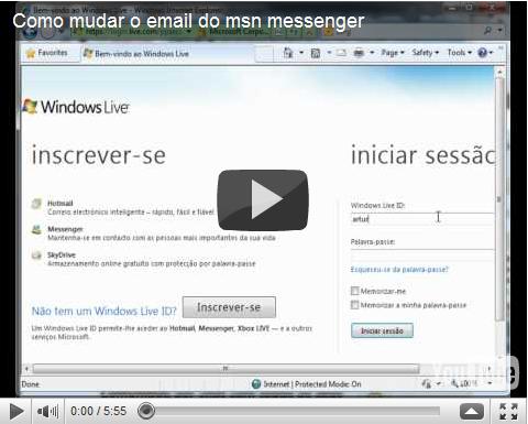 Trocar email msn messenger